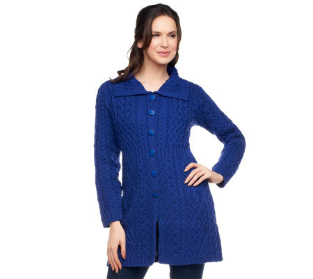 Aran Craft Merino Wool Button Front Long Cardigan
