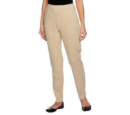 """As Is"" Susan Graver French Terry Pull-on Slim Leg Pants"