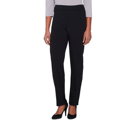 Joan Rivers Petite Ponte Knit Pull-on Tuxedo Pants w/ Grosgrain Trim