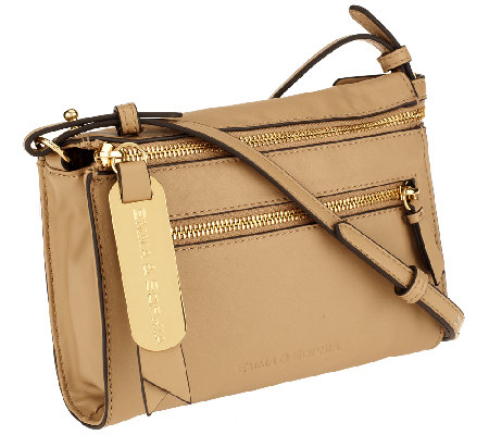 """As Is"" Emma & Sophia Leather Double Zip Crossbody"