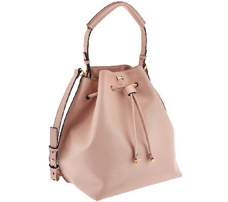 8df4216f4858 H by Halston Smooth Leather Drawstring Bucket Handbag - Page 1 — QVC.com