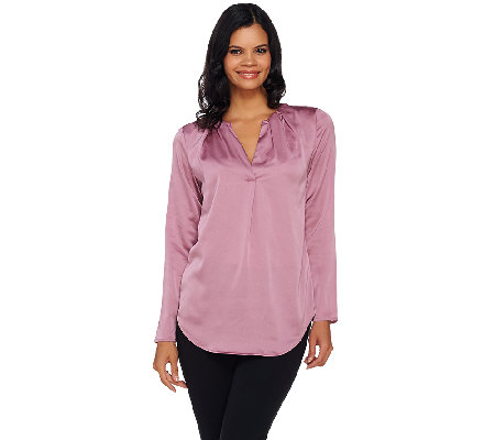 H by Halston Ruched V-neck Long Sleeve Woven Blouse