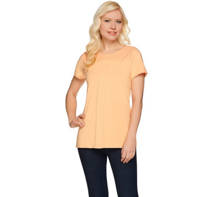 Isaac Mizrahi Live! Short Sleeve Knit Top w/ Lace Yoke
