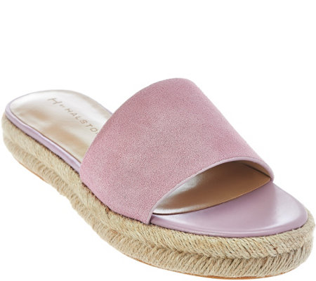 H by Halston Suede Flat Espadrille Slide - Norma