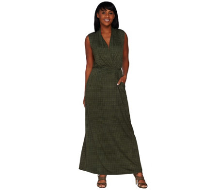 Lisa Rinna Collection Regular Printed Knit Maxi Dress with Tie Detail