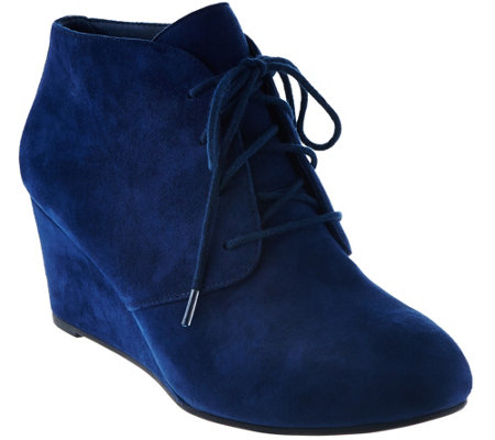 Vionic Suede Lace-up Wedge Boots - Becca