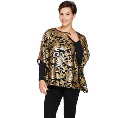 Bob Mackie's Sequin Floral Caftan and Long Sleeve Knit Top Set
