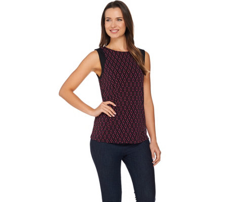 Susan Graver Printed Liquid Knit Sleeveless Top
