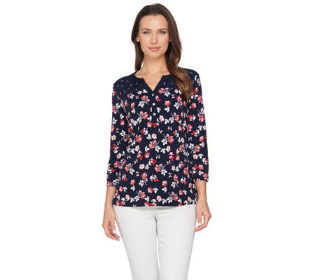 Susan Graver Printed Liquid Knit Henley Top