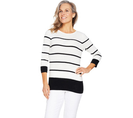 Susan Graver Cotton Rayon Nylon Striped Sweater