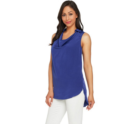 Lisa Rinna Collection Sleeveless Collared Cowl Neck Top