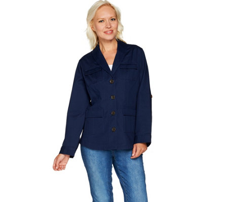 Isaac Mizrahi Live! Button Front Shawl Collar Utility Jacket