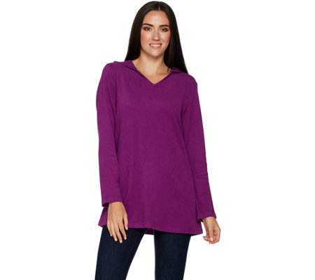 Denim & Co. Active Petite V-Neck Tunic w/ Hood and Pockets