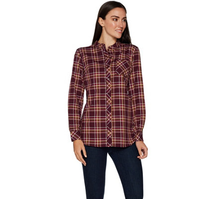 Denim & Co. Plaid Button Front Mandarin Collar Shirt