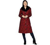 Dennis Basso Brocade Coat with Removable Faux Fur Collar - A297428