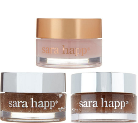 Sara Happ Set of 3 Lip Scrub & Lip Slip Gift Set