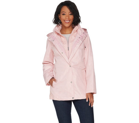 Susan Graver Zip Front Anorak Jacket with Lace Accents