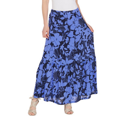 Susan Graver Petite Printed Novelty Knit Tiered Skirt