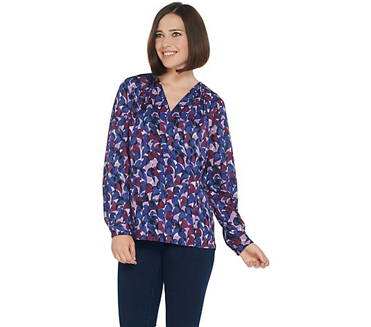 Belle by Kim Gravel Camo Print Wrap Blouse