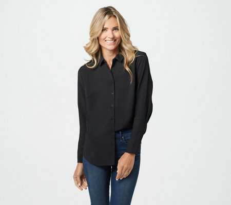 Elizabeth & Clarke Stain-Repellent Button Front Collared Top
