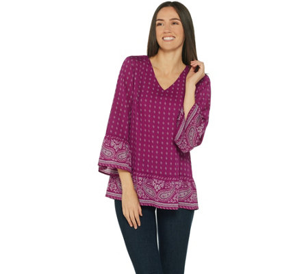 Belle by Kim Gravel Paisley Border Print Blouse