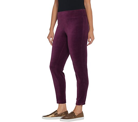 Denim & Co. Active Stretch Velour Leggings with Zipper Detail