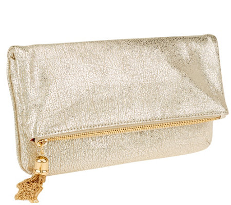 """As Is"" Isaac Mizrahi Live! Bridgehampton Metallic Leather Clutch"