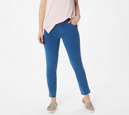 Denim & Co. Comfy Knit Smooth Waist Slim Leg Ankle Jeans