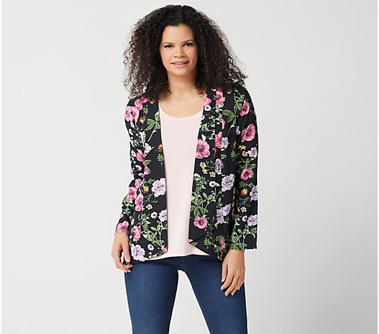 Du Jour Floral Printed Long-Sleeve Open Front Blazer