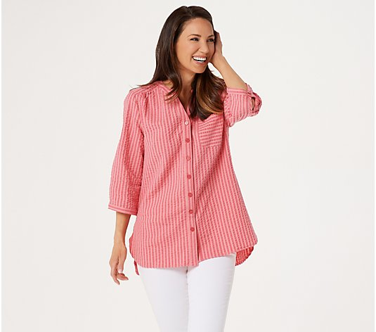 Denim & Co. Seersucker Button Front Top with Roll- Tab Sleeves