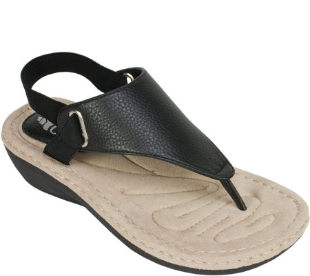 Cliffs by White Mountain Thong Wedge Sandals -Carmel