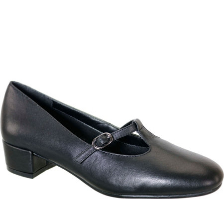 David Tate Leather T Strap Pumps - Emma