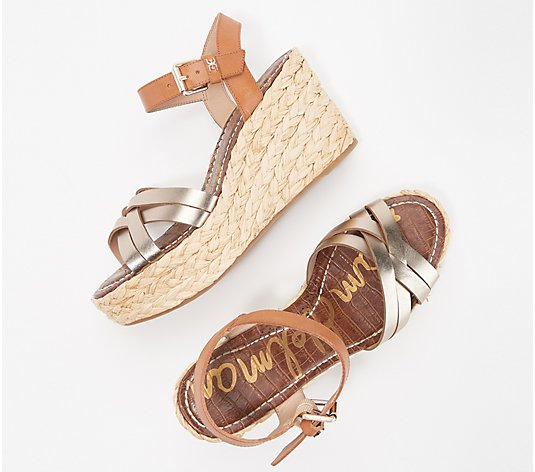 Sam Edelman Leather Braided Wedge Sandals - Darline