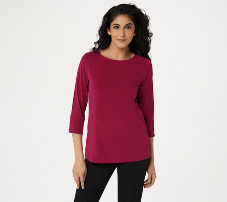 Susan Graver Modern Essential Liquid Knit Bateau Neck Top