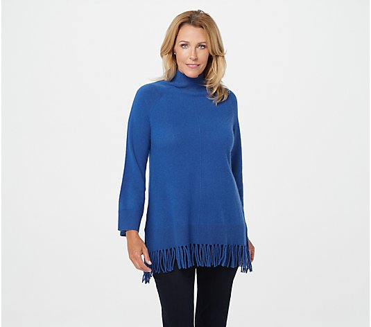 Isaac Mizrahi Live! 2-Ply Cashmere Sweater with Fringe Trim