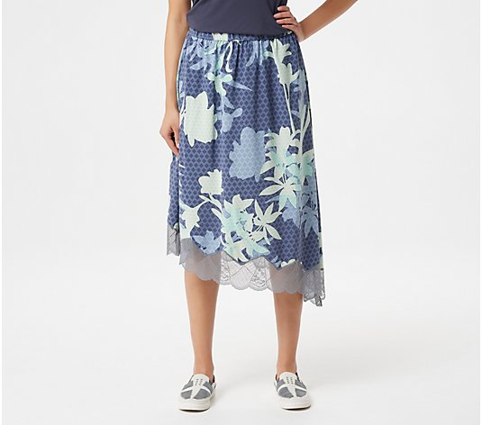"""As Is"" LOGO by Lori Goldstein Printed Bi-Stretch Skirt with Lace"