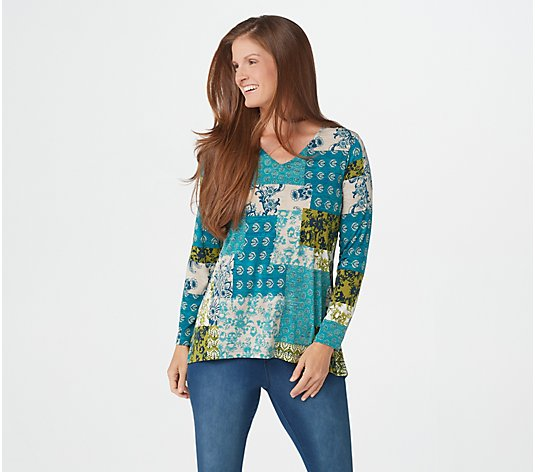 """As Is"" Susan Graver Printed Liquid Knit V-Neck Long Sleeve Top"
