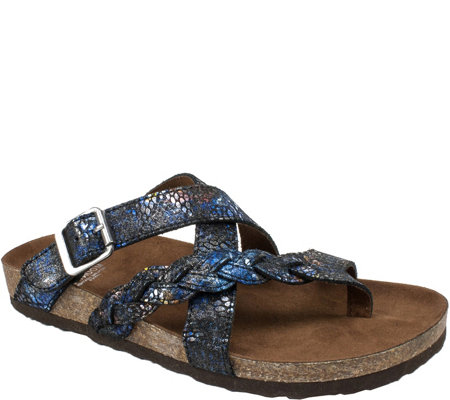 White Mountain Leather Slide Sandals - Hansen