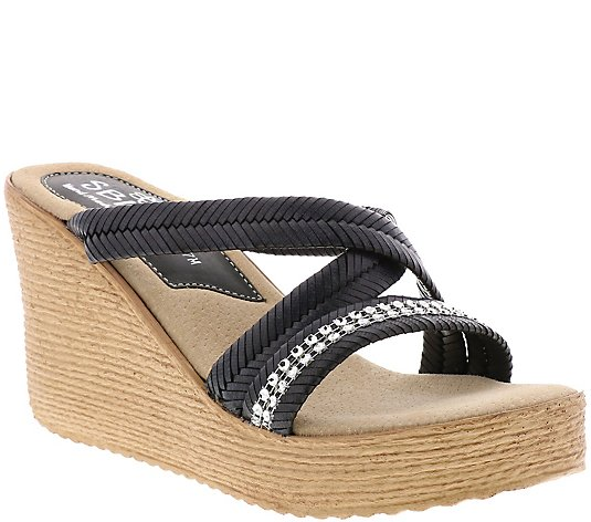 Sbicca Fabric Wedge Slide Sandals - Viona