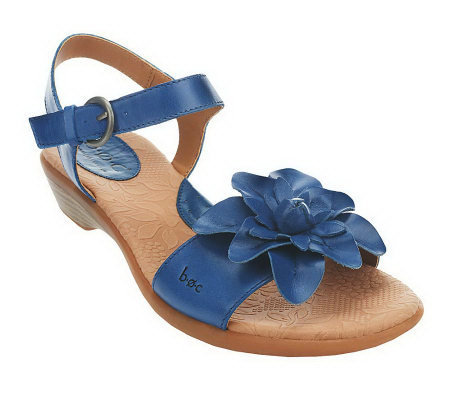 251746b9005567 B.O.C. by Born Karlyn Leather Flower Detail Sandals - Page 1 — QVC.com