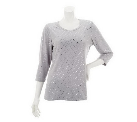 """As Is"" Susan Graver 3/4 Sleeve Liquid Knit Scoop Neck Shirt"