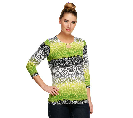 Susan Graver Liquid Knit 3/4 Sleeve Top w/ Embellished Square Keyhole