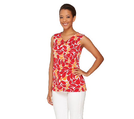 Susan Graver Printed or Solid Liquid Knit Tank w/ Ring Detail