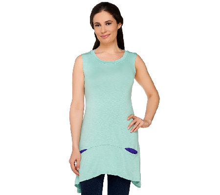 """As Is"" LOGO by Lori Goldstein Slub Knit Tank with Contrast Pocket Detail"