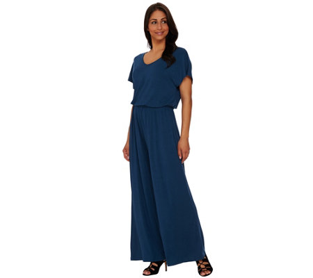 Lisa Rinna Collection Regular V-neck Wide Leg Knit Jumpsuit