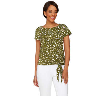 C. Wonder Printed Scoop Neck Short Sleeve Knit Top with Side Tie