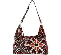 Mushmina Woven Pattern Hobo Bag w/ Leather Strap - A285329