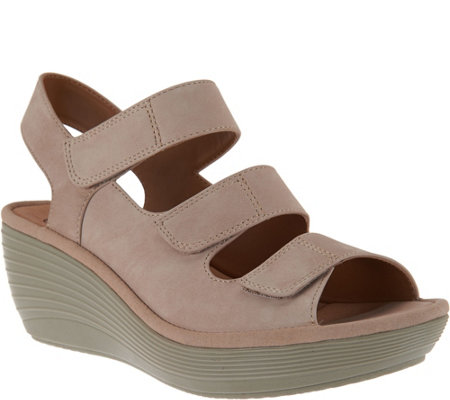 Clarks Nubuck Triple Strap Wedge Sandals - Reedly Juno