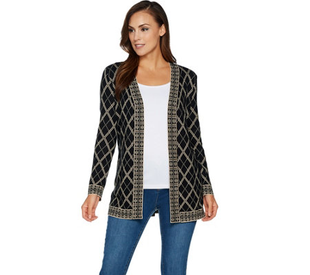 Susan Graver Jacquard Knit Long Sleeve Cardigan Sweater