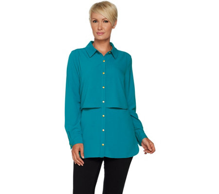 Susan Graver Petite Stretch Woven Button Front Shirt